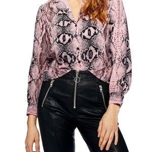 💕 Topshop Pink Snakeskin Blouse Size 2